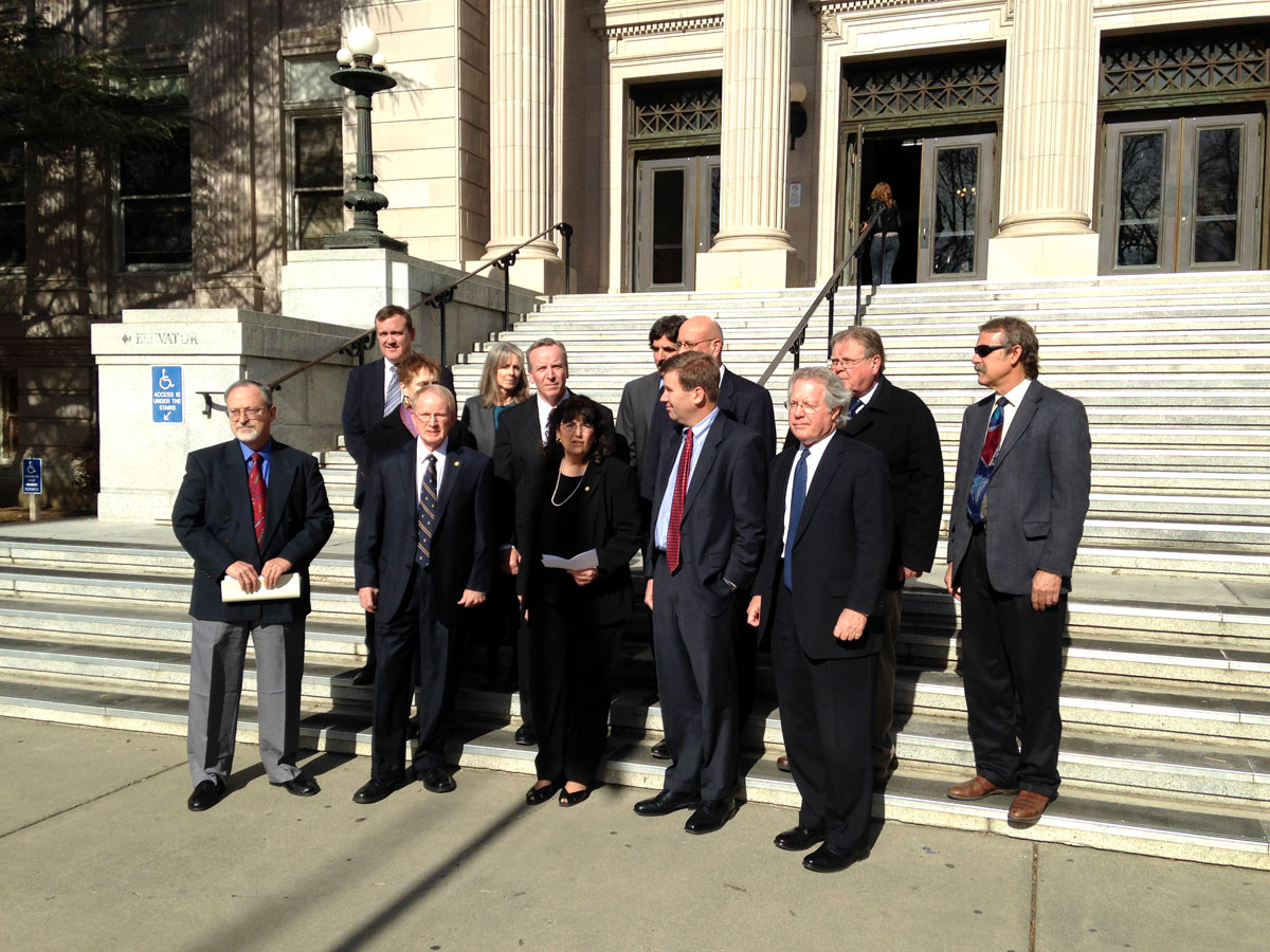 Janene Beronio announces her candidacy for Yolo Superior Court Judge on the courthouse steps on Tuesday