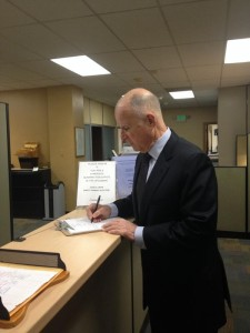 Governor Jerry Brown tweeted this photo of him pulling papers for reelection in Alameda County