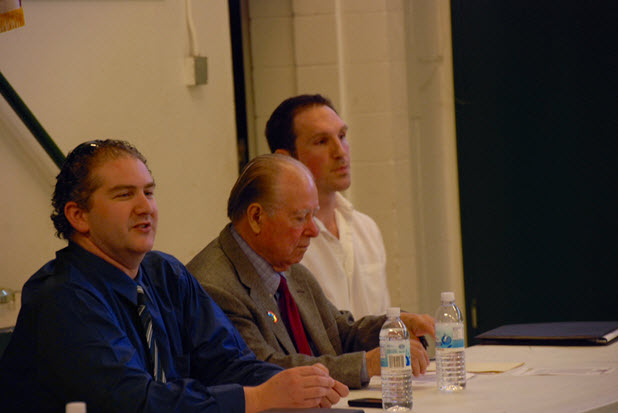David Greenwald (left) chaired the panel including Cruz Reynoso (center) and Chris Moenig (right) who represents Kevin Hughey, shot by police, in a civil suit.