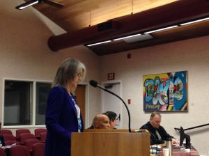 Nancy Peterson speaks against new hire at board meeting on Friday March 21, 2014